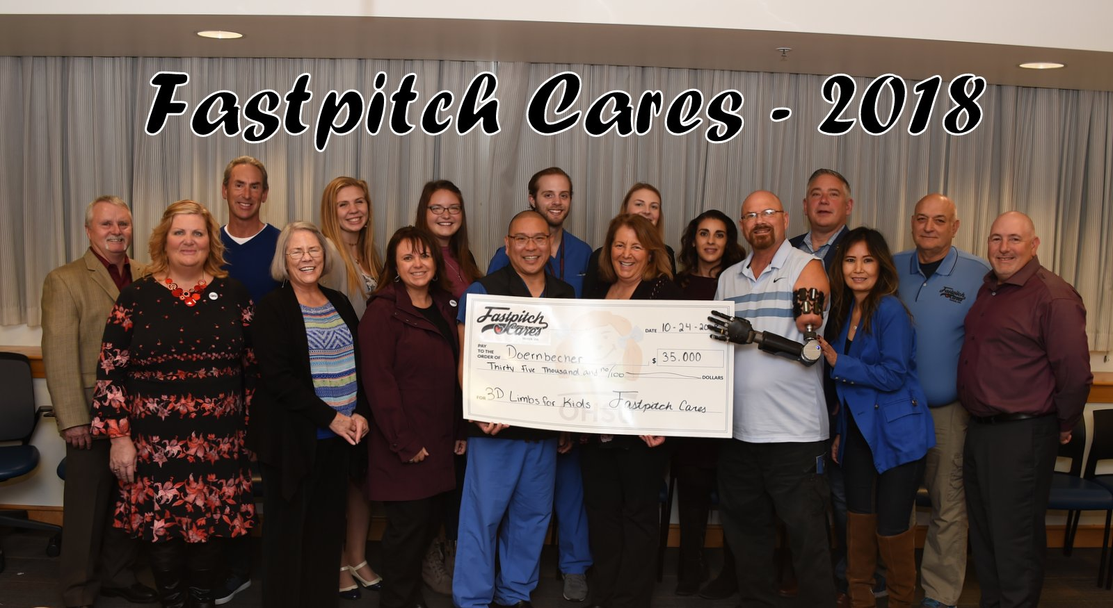 Fastpitch Cares Presents $35,000 Check to Doernbecher Childrens Hospital